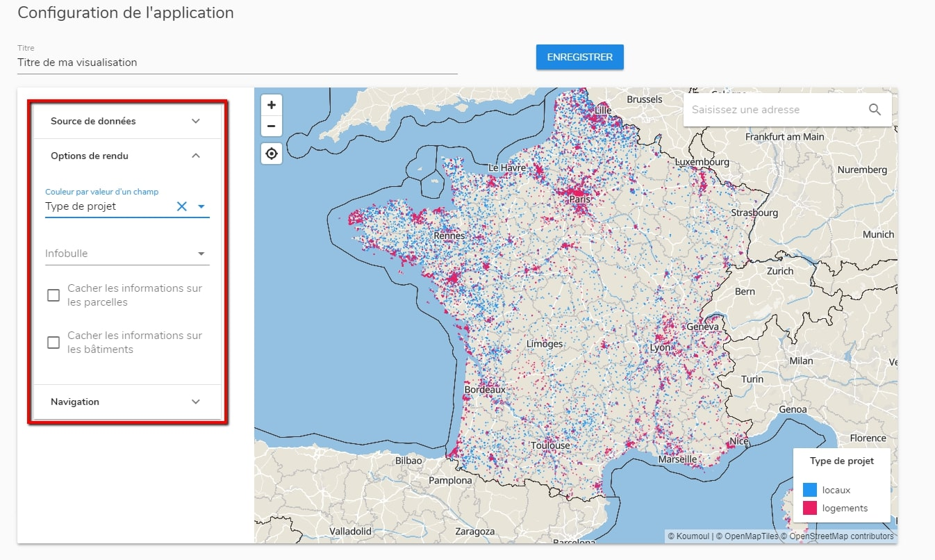 Menu de configuration d'une visualisation cartographique